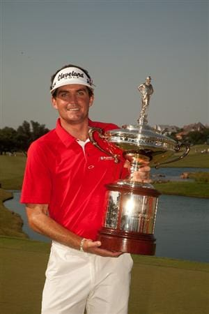 IRVING, TX - MAY 29: Keegan Bradley poses with the champion's trophy following his victory at the HP Byron Nelson Championship at TPC Four Seasons at Las Colinas on May 29, 2011 in Irving, Texas. (Photo by Darren Carroll/Getty Images)