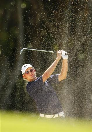 COOLUM BEACH, AUSTRALIA - DECEMBER 04: Michael Sim of Australia plays a bunker shot during day one of the Australian PGA Championship at the Hyatt Regency Resort on December 4, 2008 at Coolum Beach, Australia. (Photo by Cameron Spencer/Getty Images)