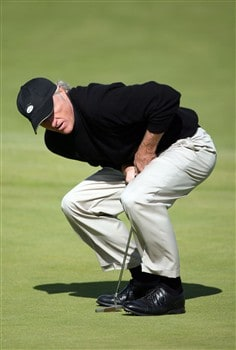 SOUTHPORT, UNITED KINGDOM - JULY 20:  Greg Norman of Australia reacts on the 11th green during the final round of the 137th Open Championship on July 20, 2008 at Royal Birkdale Golf Club, Southport, England.  (Photo by Andy Lyons/Getty Images)