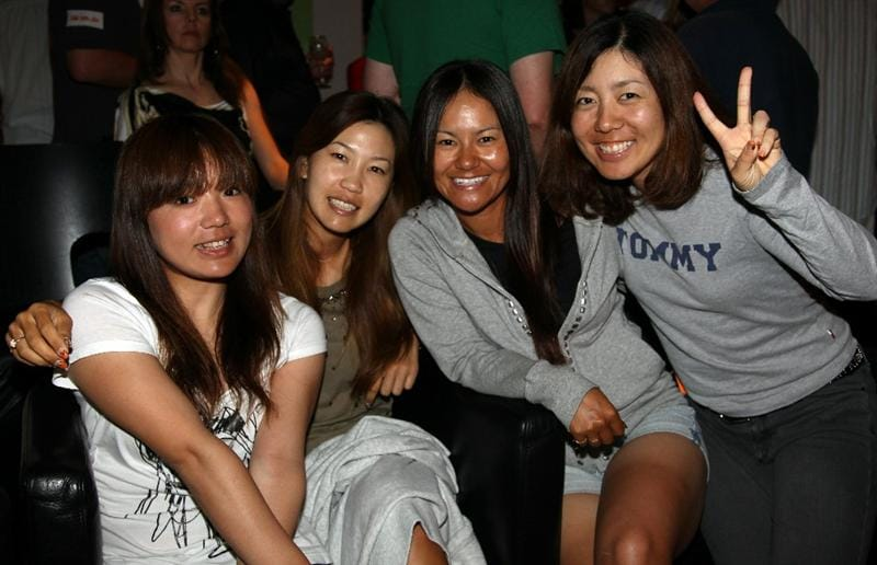 SINGAPORE - FEBRUARY 25:  Chie Arimura, Momoko Ueda, Ai Miyazato and Mika Miyazato all of Japan pictured at the 'Caddie Night Party' after the second round of the HSBC Women's Champions at Tanah Merah Country Club  on February 25, 2011 in Singapore, Singapore.  (Photo by Ross Kinnaird/Getty Images)