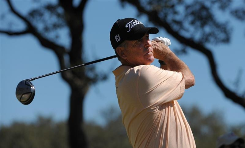 SAN ANTONIO - OCTOBER 24:  Jay Haas makes a tee shot on the fifth hole during the second round of the PGA Champions Tour AT&T Championship at the Oak Hills Country Club on October 24, 2009 in San Antonio, Texas.  (Photo by Robert Laberge/Getty Images)