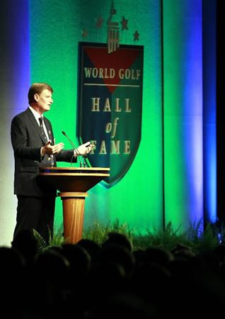 ST AUGUSTINE, FL - MAY 09:  PGA Hall of Fame golfer Ernie Els is inducted into the World Golf Hall of Fame during the 2011 Induction Ceremony on May 9, 2011 in St Augustine, Florida.  (Photo by Marc Serota/Getty Images for the World Golf Hall of Fame)