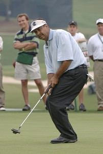 Brad Bryant putts for a birdie on the 18th hole and wins during the final round of the Regions Charity Classic held at Robert Trent Jones Golf Trail at Ross Bridge in Birmingham, Alabama, on May 7, 2006.Photo by Al Messerschmidt/WireImage.com