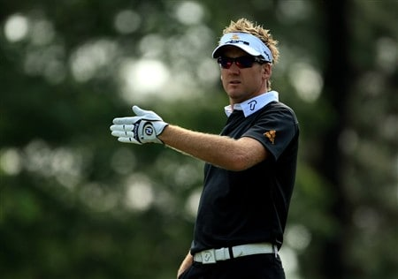 CHARLOTTE, NC - MAY 02:  Ian Poulter of England checks the wind direction with his caddy on the 6th tee during the second round of the Wachovia Championship at Quail Hollow Country Club on May 2, 2008 Charlotte, North Carolina.  (Photo by Richard Heathcote/Getty Images)