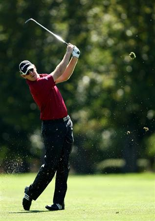 BOISE , ID - SEPTEMBER 14:  Greg Owen hits his second shot on the 9th hole during the final round of the Albertson's Boise Open at the Hillcrest Country Club on September 14, 2008 in Boise, Idaho.  (Photo by Jonathan Ferrey/Getty Images)