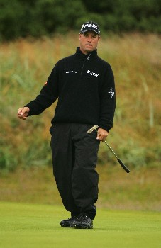 CARNOUSTIE, UNITED KINGDOM - JULY 19:  Chris DiMarco of USA watches a putt during the first round of The 136th Open Championship at the Carnoustie Golf Club on July 19, 2007 in Carnoustie, Scotland.  (Photo by Warren Little/Getty Images)