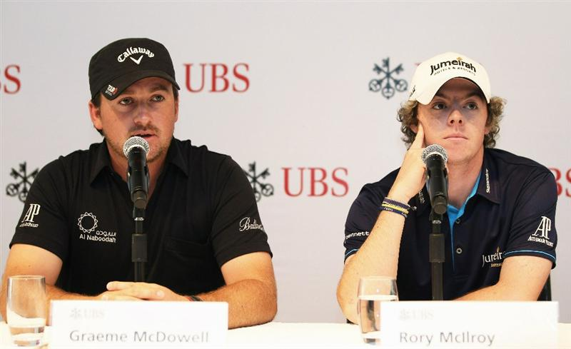 HONG KONG - NOVEMBER 16:  Graeme McDowell and Rory McIlroy of Northern Ireland during the UBS Hong Kong Open Press Conference at the International Finance Centre on November 16, 2010 in Hong Kong, Hong Kong.  (Photo by Ian Walton/Getty Images)