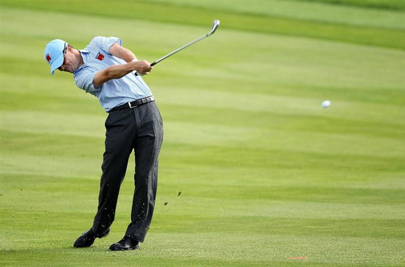 NEWPORT, WALES - SEPTEMBER 28:  Zach Johnson of the USA hits an approach shot during a practice round prior to the 2010 Ryder Cup at the Celtic Manor Resort on September 28, 2010 in Newport, Wales.  (Photo by Andy Lyons/Getty Images)