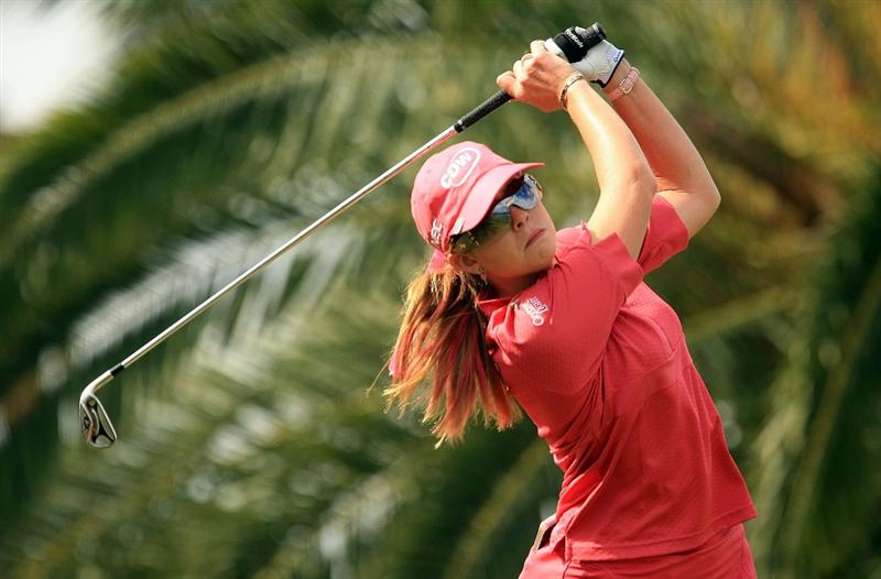 WEST PALM BEACH, FL - NOVEMBER 23:  Paula Creamer hits her tee shot on the seventh hole during the final round of the ADT Championship at the Trump International Golf Club on November 23, 2008 in West Palm Beach, Florida.  (Photo by Scott Halleran/Getty Images)