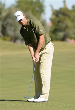 LAS VEGAS - OCTOBER 17:  George McNeill makes a birdie putt on the 18th hole  during the third round of the Justin Timberlake Shriners Hospitals for Children Open at the TPC Summerlin on October 17, 2009  in Las Vegas, Nevada. (Photo by Marc Feldman/Getty Images)