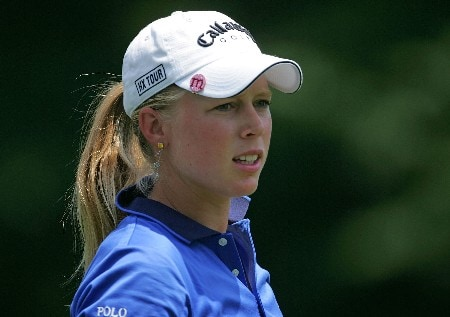HAVRE DE GRACE, MD - JUNE 07:  Morgan Pressel pauses on the par 4, 18th hole during the first round of the McDonalds LPGA Championship at Bulle Rock golf course on June 7, 2007 in Havre de Grace, Maryland.  (Photo by Andy Lyons/Getty Images)