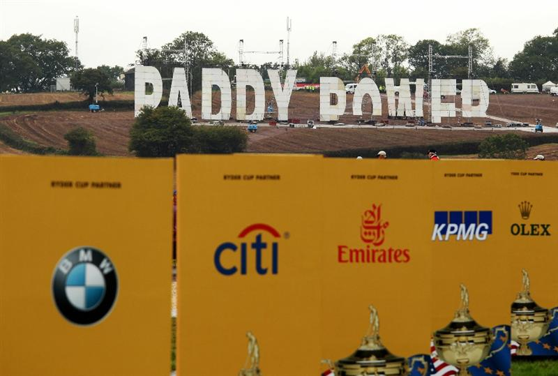 NEWPORT, WALES - SEPTEMBER 29:  Bookmaker Paddy Power display a large sign on the hillside above the course during a practice round prior to the 2010 Ryder Cup at the Celtic Manor Resort on September 29, 2010 in Newport, Wales.  (Photo by Ross Kinnaird/Getty Images)