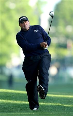 CHARLOTTE, NC - APRIL 29:  Angel Cabrera of Argentina reacts to a shot on the 10th hole during the first round of the Quail Hollow Championship at Quail Hollow Country Club on April 29, 2010 in Charlotte, North Carolina.  (Photo by Streeter Lecka/Getty Images)
