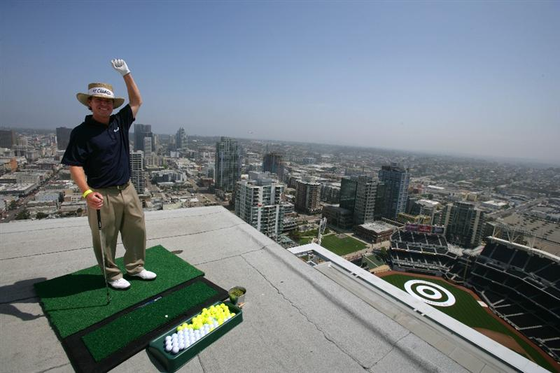 SAN DIEGO - MAY 18: PGA TOUR Player Briny Baird lands his ball off the roof of the Omni Hotel into a bulls-eye planted in right-center field at PETCO Park during the P.F. Chang's Chip for Charity on May 18, 2009 in San Diego, California.  (Donald Miralle/Getty Images )