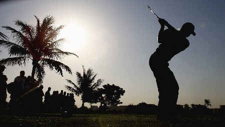 DUBAI, UNITED ARAB EMIRATES - JANUARY 30:  Tiger Woods of the USA hits a shot on the 4th tee during the pro-am event prior to the Dubai Desert Classic on the Majlis Course held at the Emirates Golf Club on January 30, 2008 in Dubai,United Arab Emirates.  (Photo by Ross Kinnaird/Getty Images)