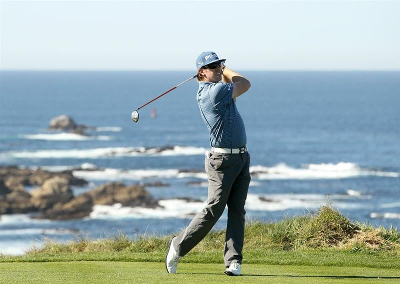 PEBBLE BEACH, CA - FEBRUARY 10:  Hunter Mahan tees off on the fourth hole at the Spyglass Hill Golf Course during Round One of the AT&T Pebble Beach National Pro-Am on February 10, 2011 in Pebble Beach, California.  (Photo by Ezra Shaw/Getty Images)
