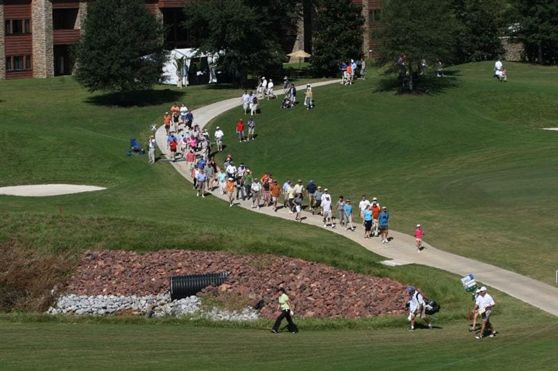 PRATTVILLE, AL - OCTOBER 3:  Christie Kerr is followed by a gallery as she walks to the 17th hole during third round play in the Navistar LPGA Classic at the Robert Trent Jones Golf Trail at Capitol Hill on October 3, 2009 in  Prattville, Alabama.  (Photo by Dave Martin/Getty Images)