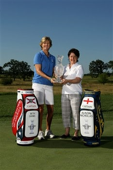 SUGAR GROVE, IL - JULY 14:  2009 Solheim Cup captains Beth Daniel (L) of Team USA and Alison Nicholas of Team Europe pose for a photo with the Solheim Cup during a preview event for the 2009 Solheim Cup at Rich Harvest Farms golf course on July 14, 2008 in Sugar Grove, Illinois.  (Photo by Jonathan Ferrey/Getty Images)