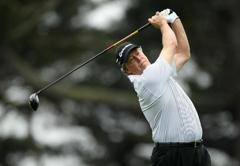 SAN FRANCISCO - NOVEMBER 07:  Michael Allen tees off on the 4th hole during the final round of the Charles Schwab Cup Championship at Harding Park Golf Course on November 7, 2010 in San Francisco, California.  (Photo by Ezra Shaw/Getty Images)