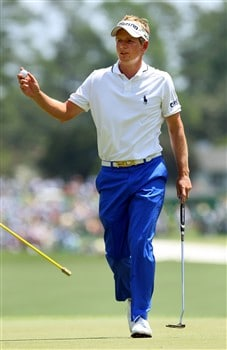 AUGUSTA, GA - APRIL 11:  Luke Donald of England waves to the gallery on the first green during the second round of the 2008 Masters Tournament at Augusta National Golf Club on April 11, 2008 in Augusta, Georgia.  (Photo by Andrew Redington/Getty Images)