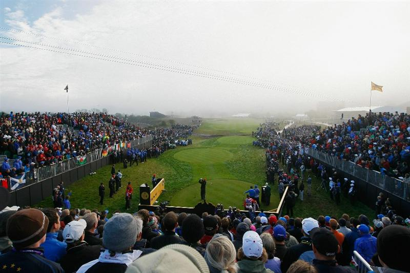 NEWPORT, WALES - OCTOBER 04:  Steve Stricker of the USA watches his tee shot on the first hole in the singles matches during the 2010 Ryder Cup at the Celtic Manor Resort on October 4, 2010 in Newport, Wales.  (Photo by Tom Dulat/Getty Images)