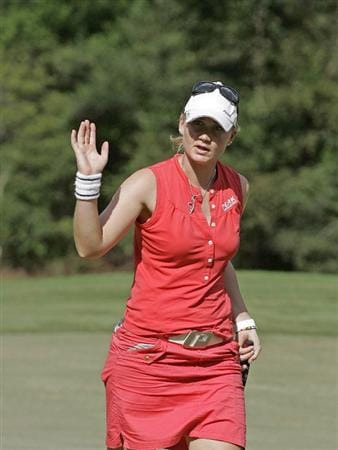 MOBILE, AL - SEPTEMBER 12:  Linda Wessberg of Sweden waves after making a birdie on the 10th hole during second round play in the Bell Micro LPGA Classic at Magnolia Grove Golf Course on September 12, 2008 in Mobile, Alabama.  (Photo by Dave Martin/Getty Images)