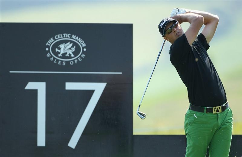 NEWPORT, WALES - JUNE 04:  Fredrik Andersson Hed of Sweden tees off on the 17th hole during the second round of the Celtic Manor Wales Open on The Twenty Ten Course at The Celtic Manor Resort on June 4, 2010 in Newport, Wales.  (Photo by Andrew Redington/Getty Images)