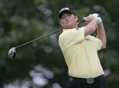 D.A. Points hits his tee shot on the 14th hole during the third round of the 84 LUMBER Classic held on the Mystic Rock Course at Nemacolin Woodlands Resort & Spa in Farmington, Pennsylvania, on September 16, 2006.Photo by Hunter Martin/WireImage.com