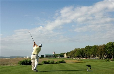 HILTON HEAD, SC - APRIL 19:  Boo Weekley hits his tee shot on the 18th hole during the third round of the Verizon Heritage at Harbour Town Golf Links on April 19, 2008 in Hilton Head, South Carolina.  (Photo by Streeter Lecka/Getty Images)