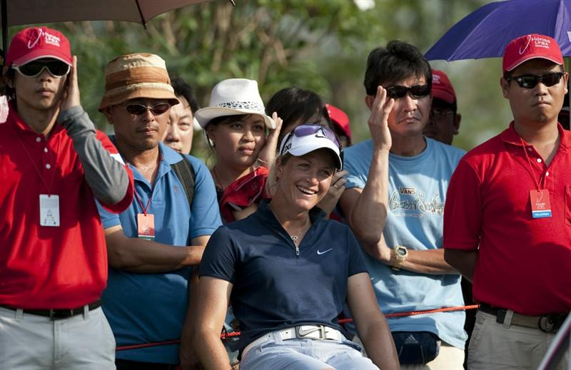 CHON BURI, THAILAND - FEBRUARY 18:  Suzann Pettersen of Norway laughs on the 18th tee during day two of the LPGA Thailand at Siam Country Club on February 18, 2011 in Chon Buri, Thailand.  (Photo by Victor Fraile/Getty Images)
