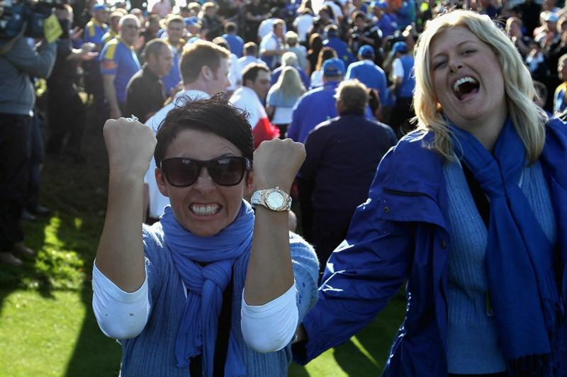 NEWPORT, WALES - OCTOBER 04: (L-R) Laurae Westwood and Katie Poulter celebrate following Europe's victory in the 2010 Ryder Cup at the Celtic Manor Resort on October 4, 2010 in Newport, Wales. (Photo by Ross Kinnaird/Getty Images)