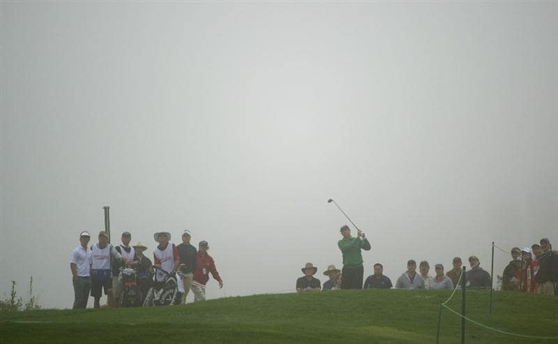 SAN MARTIN, CA - OCTOBER 16:  Lee Janzen makes a tee shot on the second hole during the third round of the Frys.com Open at the CordeValle Golf Club on October 16, 2010 in San Martin, California.  (Photo by Robert Laberge/Getty Images)