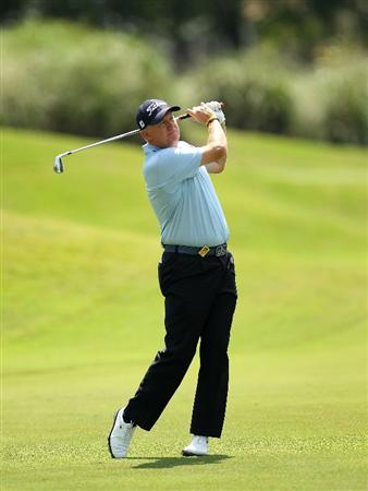 LUTZ, FL - APRIL 15: Mark Brooks hits his approach shot on the 8th hole during the first round of the Outback Steakhouse Pro-Am at the TPC of Tampa on April 15, 2011 in Lutz, Florida.  (Photo by Mike Ehrmann/Getty Images)