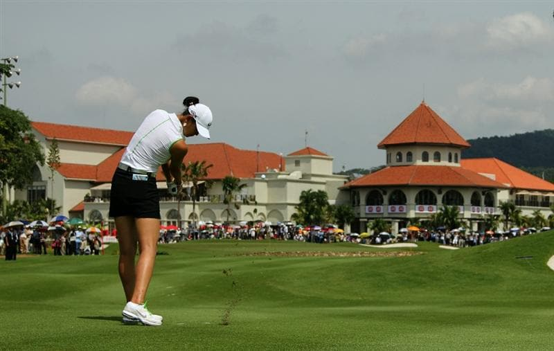 KUALA LUMPUR, MALAYSIA - OCTOBER 22 : Michelle Wie of the USA hits her 2nd shot on the 2nd hole during Round One of the Sime Darby LPGA on October 22, 2010 at the Kuala Lumpur Golf and Country Club in Kuala Lumpur, Malaysia. (Photo by Stanley Chou/Getty Images)