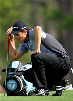 AUGUSTA, GA - APRIL 09:  Justin Rose of England lines up a shot during the third day of practice prior to the start of the 2008 Masters Tournament at Augusta National Golf Club on April 9, 2008 in Augusta, Georgia.  (Photo by Andrew Redington/Getty Images)