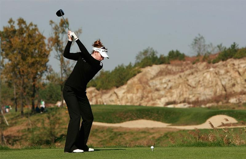 INCHEON, SOUTH KOREA - OCTOBER 31:  Brittany Lang of United States hits a tee shot on the second hole during the 2010 LPGA Hana Bank Championship at Sky 72 Golf Club on October 31, 2010 in Incheon, South Korea.  (Photo by Chung Sung-Jun/Getty Images)
