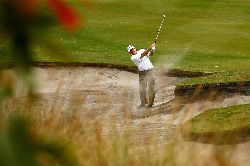 MELBOURNE, AUSTRALIA - NOVEMBER 28:  Rod Pampling of Australia  plays out of the bunker on the seventh hole during the second round of the 2008 Australian Masters at Huntingdale Golf Club on November 28, 2008 in Melbourne, Australia  (Photo by Quinn Rooney/Getty Images)