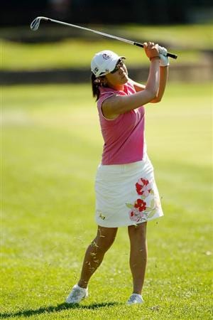 BETHLEHEM, PA - JULY 12:  Candie Kung of Taiwan makes a shot from the fairway on the 15th hole during the final round of the 2009 U.S. Women's Open at Saucon Valley Country Club on July 12, 2009 in Bethlehem, Pennsylvania.  (Photo by Chris Graythen/Getty Images)