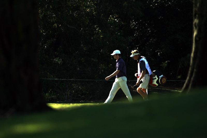 LAKE BUENA VISTA, FL - NOVEMBER 07:  Martin Laird (L) walks with his caddie on the 17th hole during the secind round at the Childrens Miracle Network Classic at Disney Palm on November 7, 2008 in Lake Buena Vista, Florida. (Photo by Marc Serota/Getty Images)