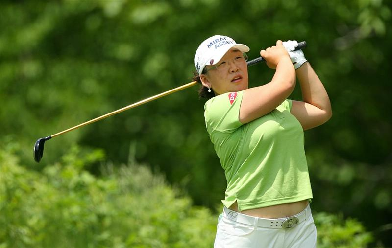 GLADSTONE, NJ - MAY 21: Jiyai Shin of South Korea hits her tee shot on the third hole during the second round of the Sybase Match Play Championship at Hamilton Farm Golf Club on May 21, 2010 in Gladstone, New Jersey. (Photo by Hunter Martin/Getty Images)
