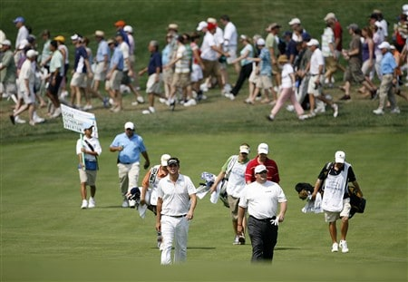 BETHESDA, MD - JULY 3: (L-R) Jeff Overton and Jeff Gore walk toward their balls on the 5th hole during the first round of the AT&T National at Congressional Country Club on July 3, 2008 in Bethesda, Maryland. (Photo by Hunter Martin/Getty Images)