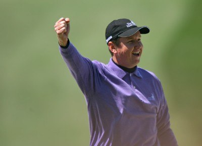 J.J. Henry celebrates after he holes it out of the bunker on the seventh hole during the third round of the 2007 Masters at the Augusta National Golf Club in Augusta, Georgia, on April 7, 2007. The 2007 Masters - Third RoundPhoto by Mike Ehrmann/WireImage.com