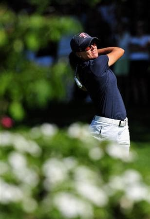 EVIAN-LES-BAINS, FRANCE - JULY 25:  Sofie Gustafson of Sweden plays her approach shot on the 18th hole during the third round of the Evian Masters at the Evian Masters Golf Club on July 25, 2009 in Evian-les-Bains, France.  (Photo by Stuart Franklin/Getty Images)