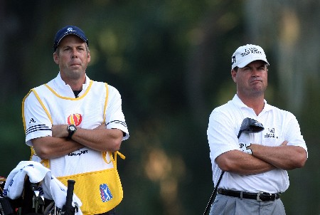 LAKE BUENA VISTA, FL - NOVEMBER 02:  Jay Williamson with his caddie on the 11th tee on the Palm Course during the second round of The Childrens Miracle Network Classic held on the Palm and Magnolia Courses at The Disney Shades of Green Resort, on November 2, 2007 in Lake Buena Vista, Florida.  (Photo by David Cannon/Getty Images)