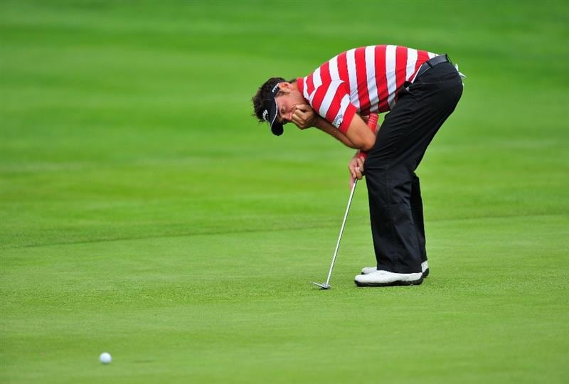 MUNICH, GERMANY - JUNE 27:  Nick Dougherty of England reacts to his putt on the 10th hole during the third round of The BMW International Open Golf at The Munich North Eichenried Golf Club on June 27, 2009, in Munich, Germany.  (Photo by Stuart Franklin/Getty Images)