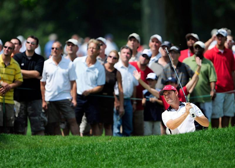 AKRON, OH - AUGUST 09:  Padraig Harrington of Ireland plays a shot on the 2nd hole during the final round of the WGC-Bridgestone Invitational on the South Course at Firestone Country Club on August 9, 2009 in Akron, Ohio.  (Photo by Sam Greenwood/Getty Images)