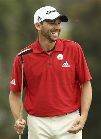 MELBOURNE, AUSTRALIA - NOVEMBER 10:  Sergio Garcia of Spain talks with the crowd during the Pro-Am ahead of the Australian Masters at The Victoria Golf Club on November 10, 2010 in Melbourne, Australia.  (Photo by Lucas Dawson/Getty Images)