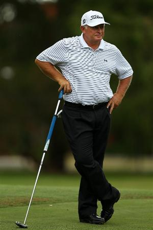 PERTH, AUSTRALIA - NOVEMBER 20:  Peter Senior of Australia waits to putt on the 10th hole during day two of the 2010 Australian Senior Open at Royal Perth Golf Club on November 20, 2010 in Perth, Australia.  (Photo by Paul Kane/Getty Images)