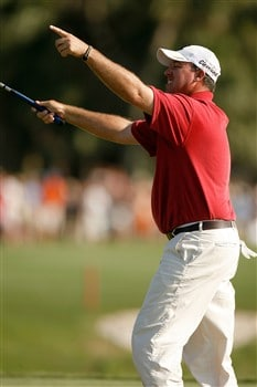 HILTON HEAD, SC - APRIL 20: Boo Weekley celebrates after winning the Verizon Heritage at Harbour Town Golf Links April 20, 2008 in Hilton Head, South Carolina.  (Photo by Streeter Lecka/Getty Images)