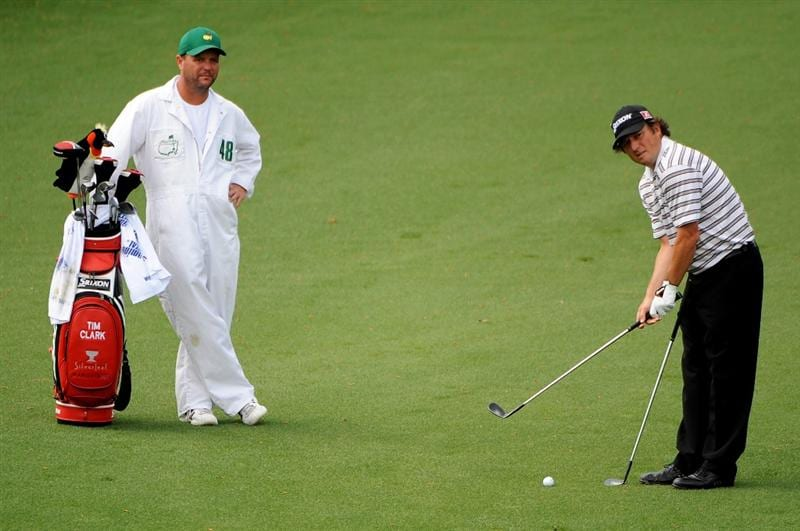 AUGUSTA, GA - APRIL 11:  Tim Clark of South Africa prepares to plays a shot to the second green as his caddie Steve Underwood looks on during the third round of the 2009 Masters Tournament at Augusta National Golf Club on April 11, 2009 in Augusta, Georgia.  (Photo by Harry How/Getty Images)